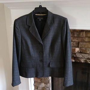 Anne Klein dark gray plaid blazer 12P